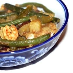 Trinidad-Style Curried Potatoes (Aloo) with Green Beans and Shrimp Recipe