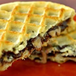 Peanut Butter Chocolate Waffle Sandwich Recipe