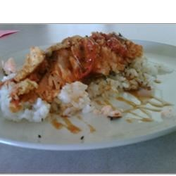 Salmon, Rice, and Fried Tomatoes Recipe