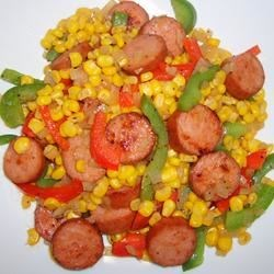 Fried Corn With Smoked Sausage