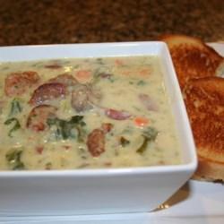 Cream of Potato with Chorizo and Kale Soup Recipe