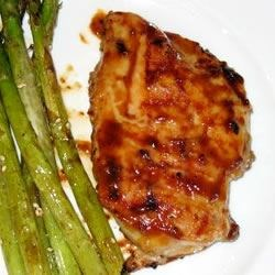Honey Mustard Grilled Chicken served with the Grilled Soy-Sesame Asparagus