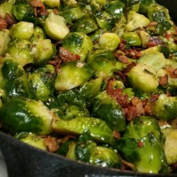 Garlic Brussels Sprouts with Crispy Bacon Recipe