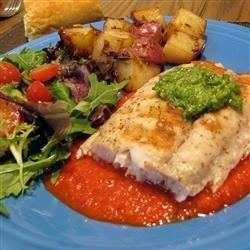 Grilled Mahi Mahi with Roasted Pepper Sauce and Cilantro Pesto Recipe