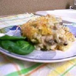 Hash Brown Casserole II with mushrooms and spinach