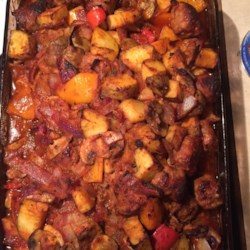 Sausage, Peppers, Onions, and Potato Bake Recipe