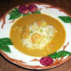 Curried Shrimp bisque with Coconut Rice