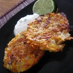Sweet Potato Pancakes with Lime Cilantro Yogurt Sauce Recipe