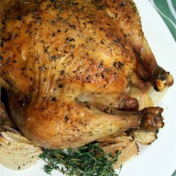 Roast Chicken with Thyme and Onions Recipe