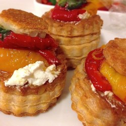 Goat Cheese with Marinated Roasted Peppers Recipe
