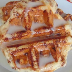 cinnamon roll waffles with cream cheese syrup printer friendly