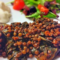 garlic lentils with kale printer friendly