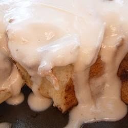Whipped cream cheese frosting on cinnabon clone