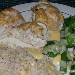 Crab and cream cheese stuffed chicken!