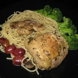 Chicken with Red Grapes And Mushrooms Recipe