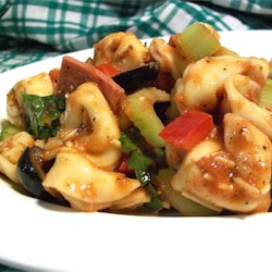 Tortellini Salad with Grilled Tomato Vinaigrette Recipe