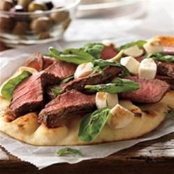 Grilled Steak and Fresh Mozzarella Flatbread Recipe