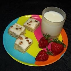 Frosted Banana Bars with lemon frosting