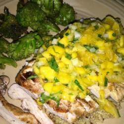 Coriander Chicken with Mango Salsa Recipe