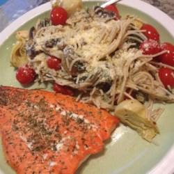 Salmon Pasta with Spinach and Artichokes Recipe