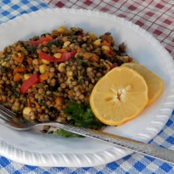Pearl Couscous with Lentils, Carrots, Spinach, and Corn Recipe