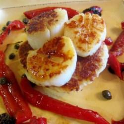 Red Pepper Scallops on Potato Pancakes  Recipe
