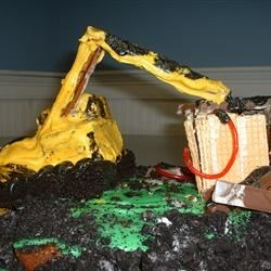 my sons 3rd b- day excavater cake