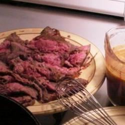 Flank Steak with Garlic Wine Sauce