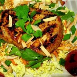 Grilled Adobo Pork Tenderloin Salad With Plums and Almonds Recipe