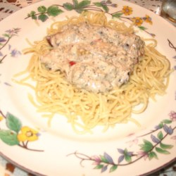 Salmon Fettuccini with Blue Cheese and Olives Recipe