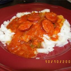 Kielbasa Stew served on bed of semi-mashed potatoes