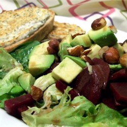 Avocado, Beet and Arugula Salad with Chevre Tartine Recipe