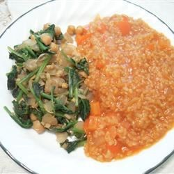 Espinacas con Garbanzos and Spanish Rice