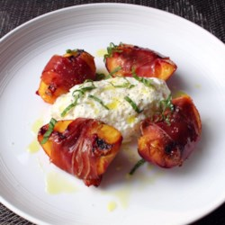 grilled prosciutto wrapped peaches with burrata and basil printer