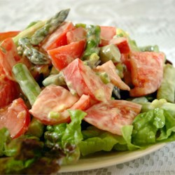 Asparagus and Tomato Salad with Yogurt-Cheese Dressing Recipe