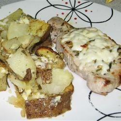 Greek Style Potatoes & Pork Chop & Feta Skillet