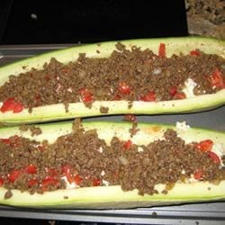 Stuffed Zucchini - Hamburger/Cottage Cheese