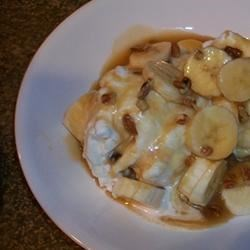 Coconut Ice Cream with Banana Caramel Sauce
