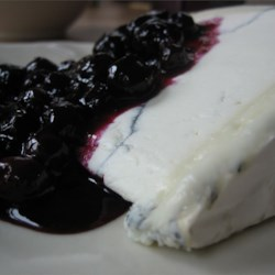 Pickled blueberries over Humbolt Fog ripened goat cheese.