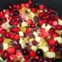 Spicy Cranberry Chutney simmering in the pot.