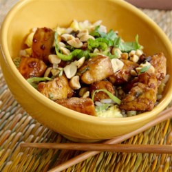 easy and spicy thai basil chicken with egg printer friendly