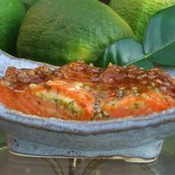 Evin's Indian Apricot Chicken Sauce on Salmon
