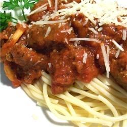 Photo of Spaghetti with Tomato and Sausage Sauce by Melinda