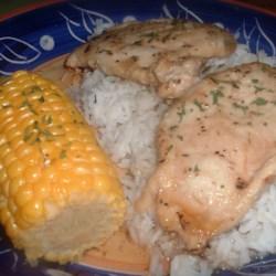 Garlic Braised Chicken with Honey Mustard Glaze