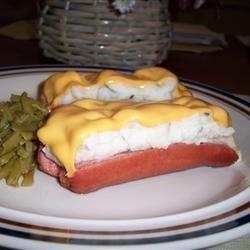mashed potato and cheese stuffed hotdogs