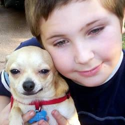 "My son Adam and his dog ""Little Bit"""