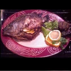 Grilled Whole Tilapia with Crab & Citrus stuffing
