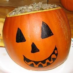 teris dinner in a pumpkin - Halloween Meat Recipes