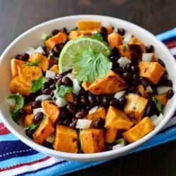 vegan black bean and sweet potato salad printer friendly
