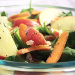Apple, Pecan, Cranberry, and Avocado Spinach Salad with Balsamic Dressing